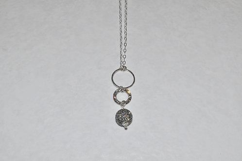 Black Diamond Pave' Ball & Circle Necklace NL022-SS