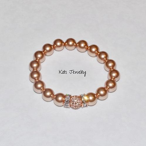 Kids Pearl & Pave' Ball Stretch Bracelet B147-SS