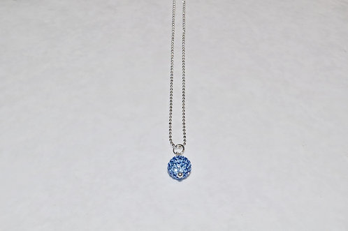 Blue Crystal Pave' Ball Necklace  NS118-SS