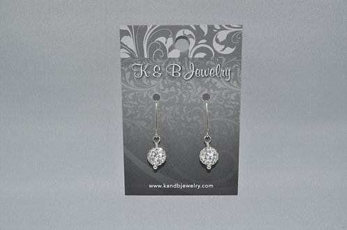 Crystal Pave' Ball Earrings  EM034-SS