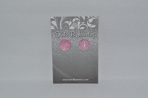 AB Pink Druzy Studs  EST-082-SS