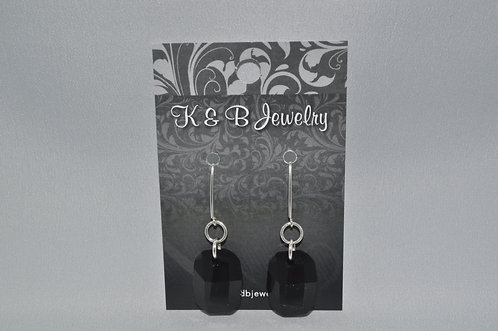 Black Graphic Earrings  EM045-SS