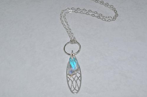Aurora Borealis Filigree Pendant Necklace   NL002-SS