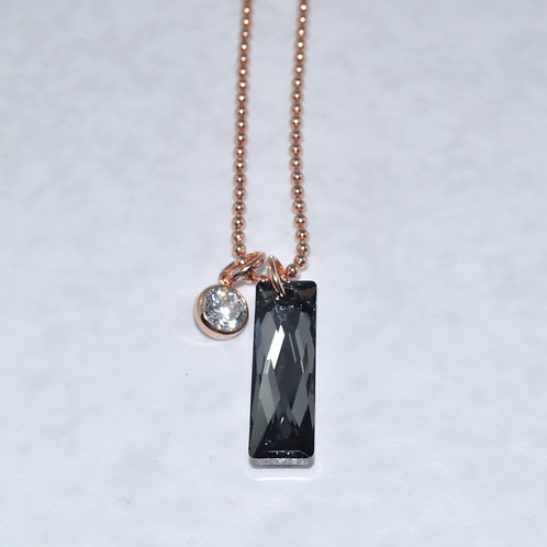 Silver Night Baguette Necklace NS009-RG