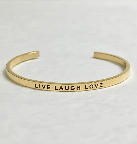 Gold Mantra Cuff Bracelet - Live Laugh Love - B096-GF