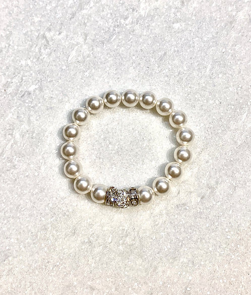 Kids Pearl & Pave' Ball Stretch Bracelet B148-SS