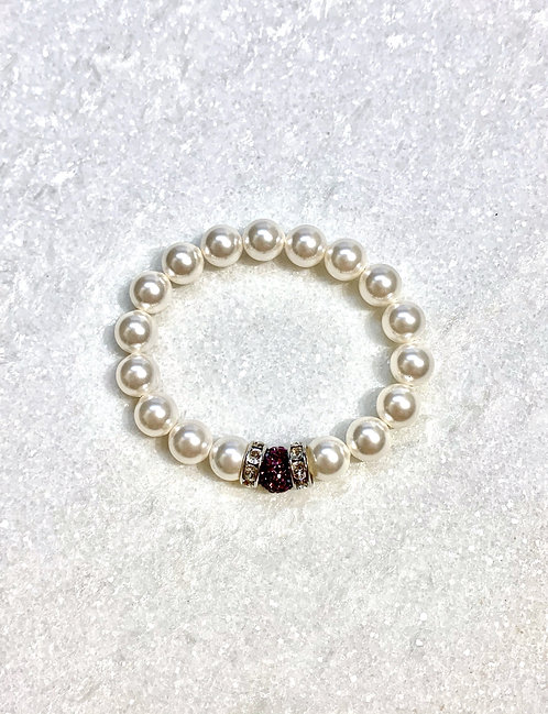 Kids Pearl & Pave' Ball Stretch Bracelet B153-SS