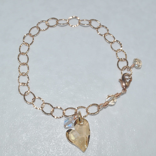 Devoted 2 U Heart Chain Bracelet   B016-RG
