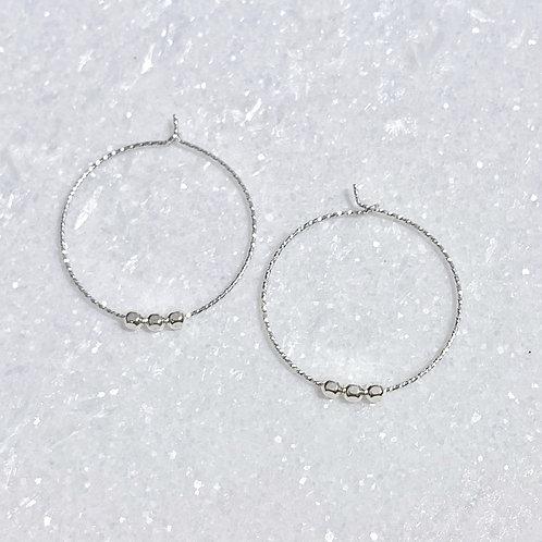 SS Sparkle Hoop Earrings/SS Beads EST-208-SS
