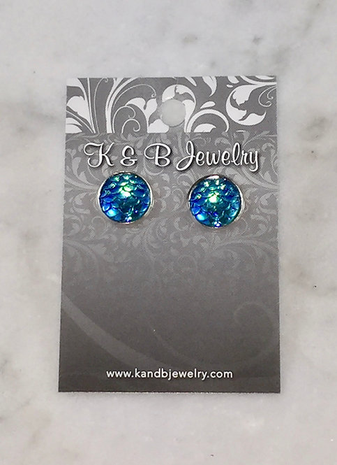 Mermaid Blue Studs  EST-106-SS