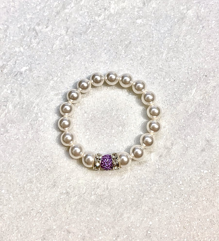 Kids Pearl & Pave' Ball Stretch Bracelet B151-SS