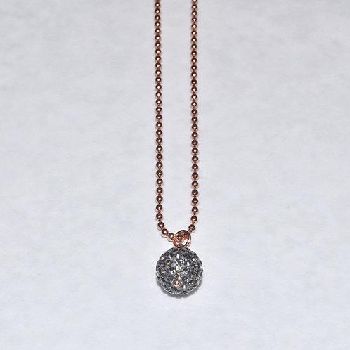 Black Diamond Pave' Ball Necklace NS004-RG