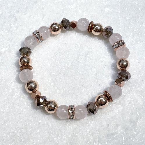 Rose Quartz/RG Hematite Stretch Bracelet