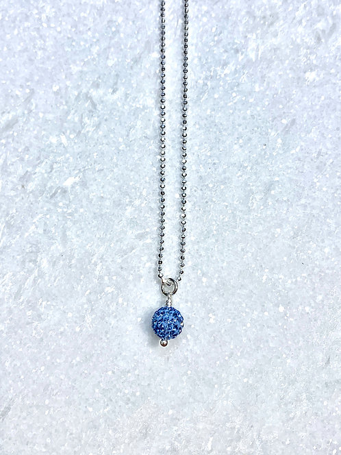 Kids Blue Pave' Ball Necklace NS133-SS