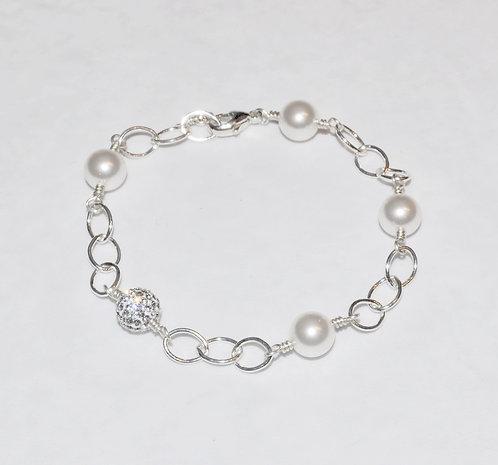 White Pearl & Pave' Ball Chain Bracelet B069-SS
