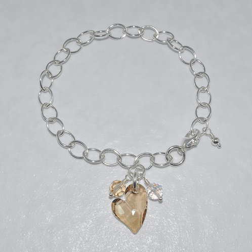 Ashlyn Chain Heart Bracelet   B028-SS