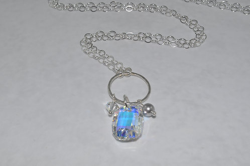 Aurora Borealis Anna Graphic Pendant Necklace   NL008-SS
