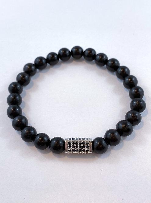 Men's Black Sandlewood Stretch Bracelet   B356-SS