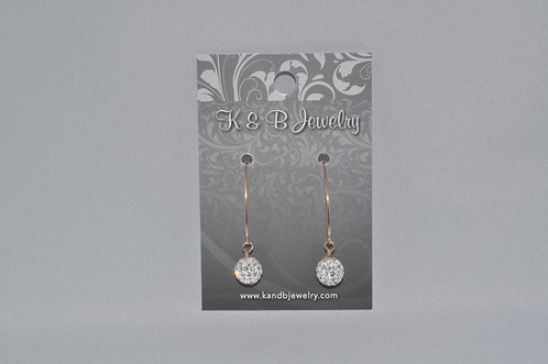 Crystal Pave' Ball Earrings  E013-RG
