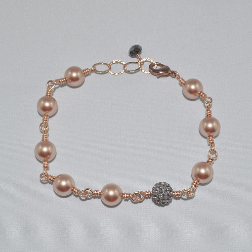 Pearl and Pave' Ball Bracelet  B017-RG