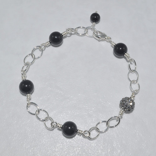 Pearl & Crystal Pave' Ball Chain Bracelet B071-SS