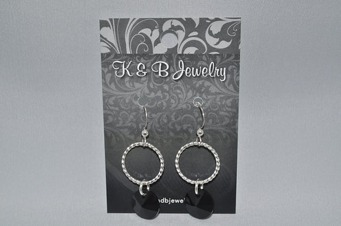 Black / Twisted Wire Circle Earrings  ESB010-SS