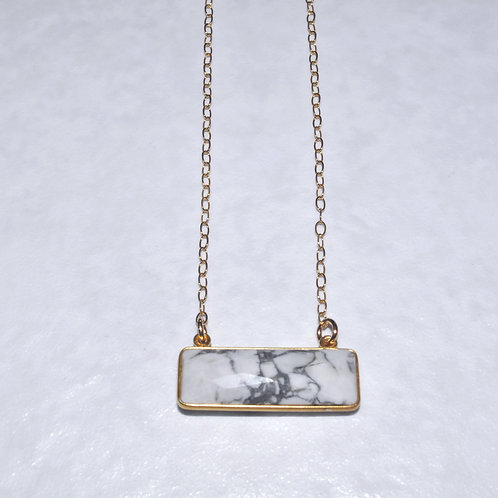 Howlite Rectangle Necklace NS014-GF