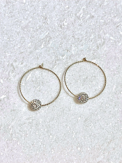 GF Hoop Earrings/Crystal Pave' Balls EST051-GF