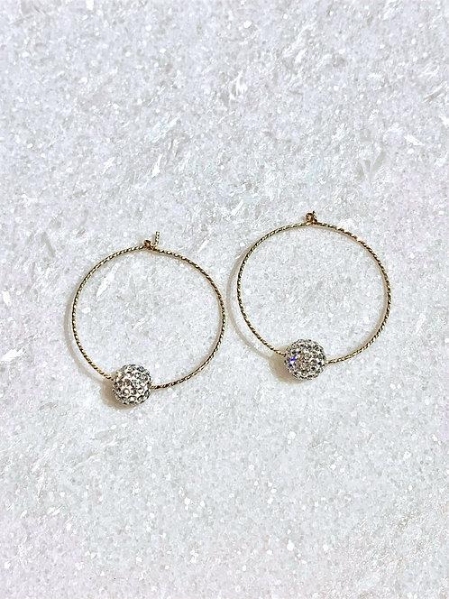 GF Hoop Earrings/Crystal Pave' Balls EST051-GF