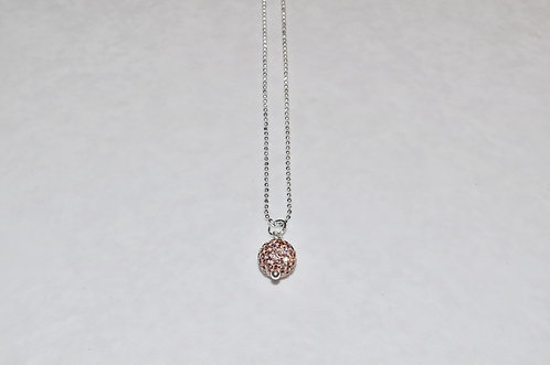 Rose Gold Pave' Ball Necklace NS089-SS