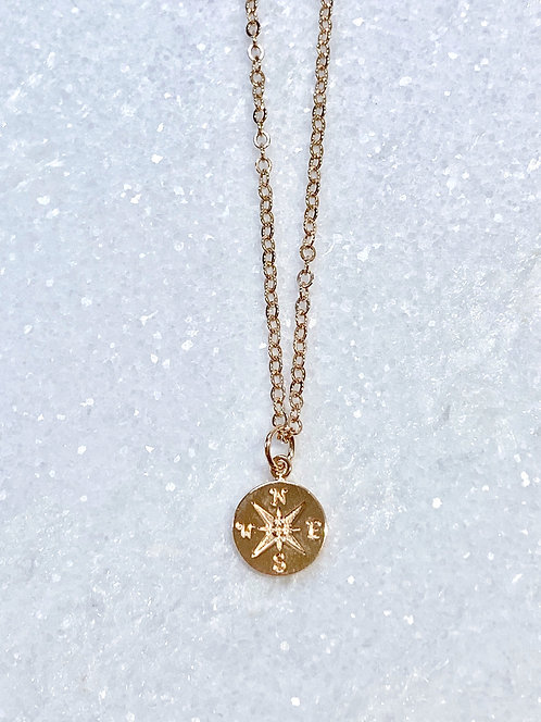 Rose Gold Compass Necklace NS029-RG
