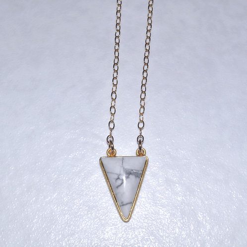 Howlite Triangle Necklace  NS017-GF