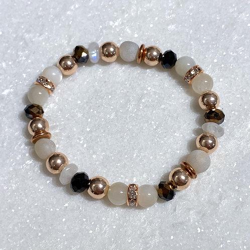 Moonstone & RG Hematite Bracelet B101-RG