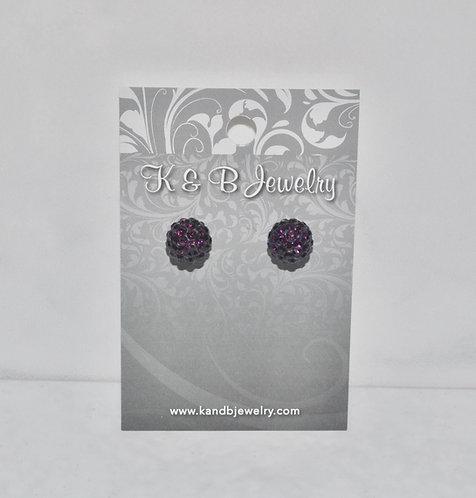 Dark Purple Crystal Pave' Ball Studs