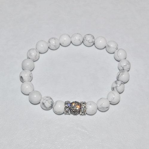 Howlite & Pave' Ball Stretch Bracelet B128-SS