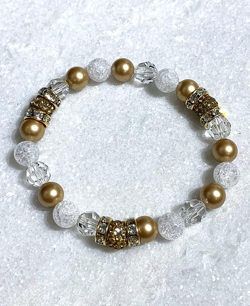 Triple Gold Pave' Ball & Gold Pearl Stretch Bracelet B153-GF