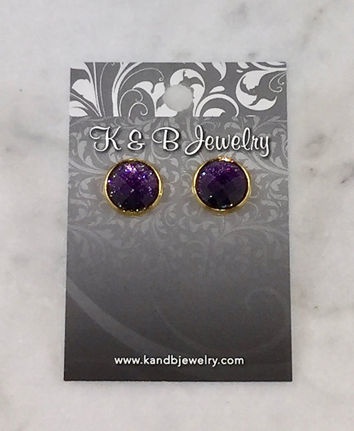 Glitter Purple Studs  EST036-GF