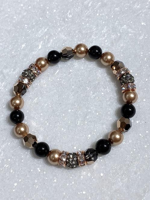 Triple Black Diamond Pave' Ball & RG Pearl Bracelet B104-RG