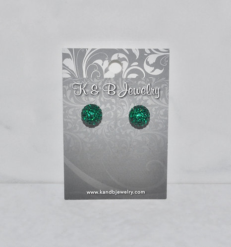 Rider Green Crystal Pave' Ball Studs