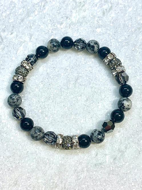 Triple Black Diamond Pave' Ball & Sesame Jasper St Bracelet  B333-SS