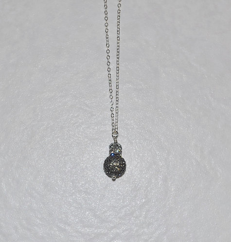 Black Diamond Pave' Ball Necklace NL094-SS