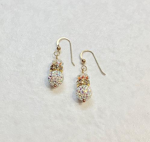 AB Pave' Ball Drop Earrings  ESB015-GF