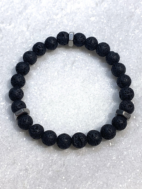 Men's Lava Stone with Hexagon Nuts St Bracelet B380-SS