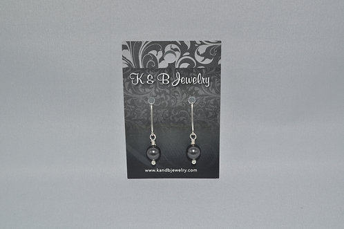 Black Pearl Earrings  EM033-SS