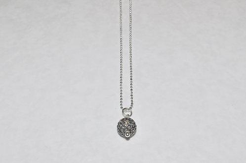 Black Diamond Pave' Ball Necklace  NS090-SS