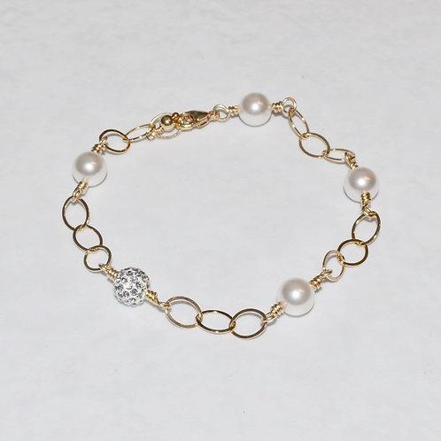 White Pearl & Crystal Pave' Ball Chain Bracelet B025-GF