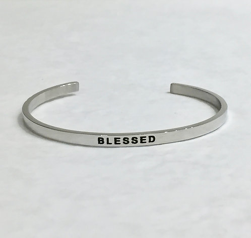 Silver Mantra Cuff Bracelet - Blessed - B287-SS