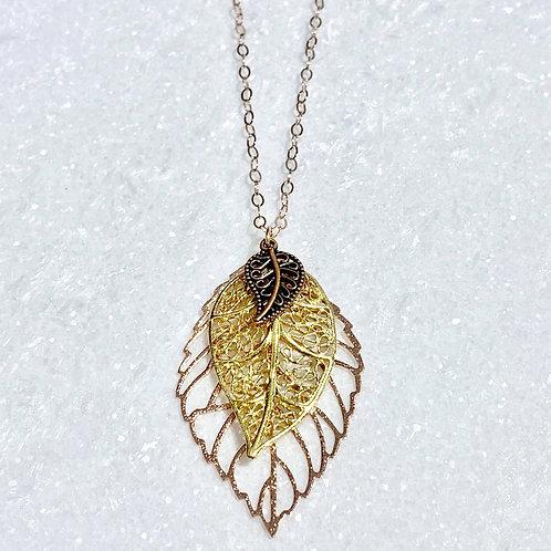 RG Triple Leaf Necklace NL030-RG