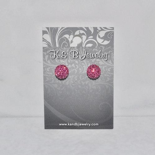 Pink Crystal Pave' Ball Studs