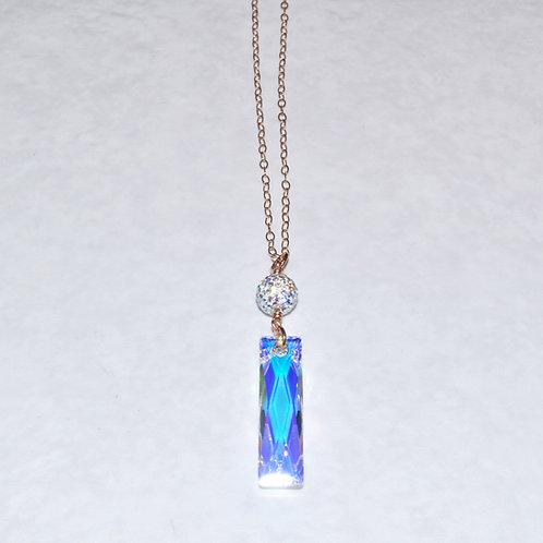 Swarovski Crystal Aurora Borealis Baguette Necklace NL011-RG